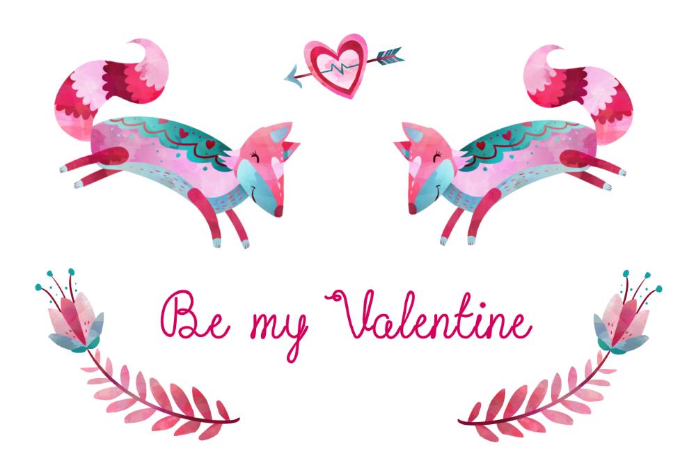 Une carte de St Valentin mignonne avec les free-goods de CreativeMarket