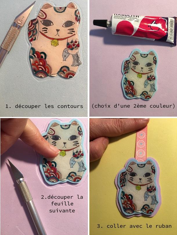 maneki-neko papier mousse et ruban