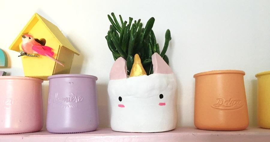 cache pot licorne plante