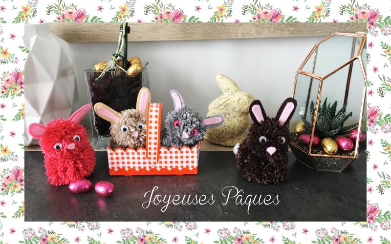 joyeuses pâques lapins pompons