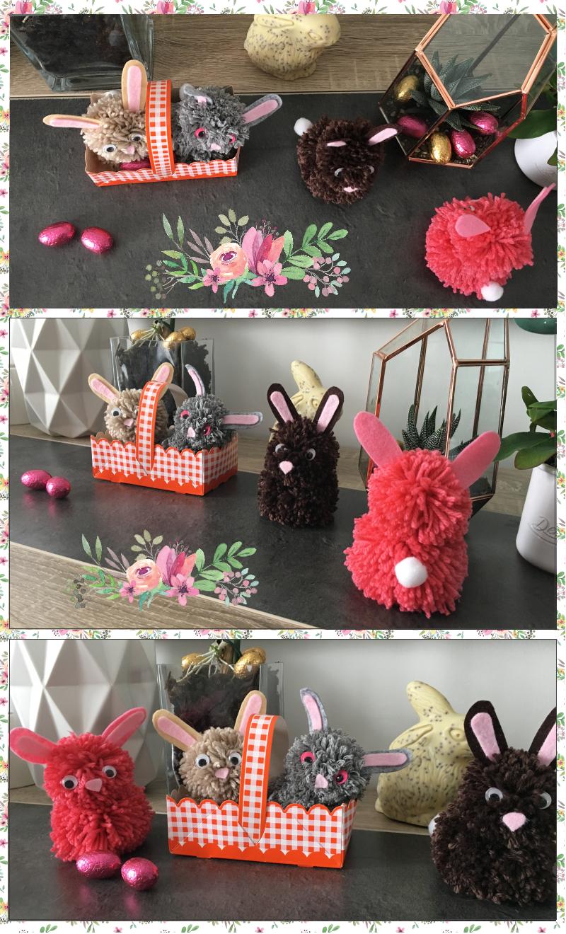 les lapins de paques en pompons diy