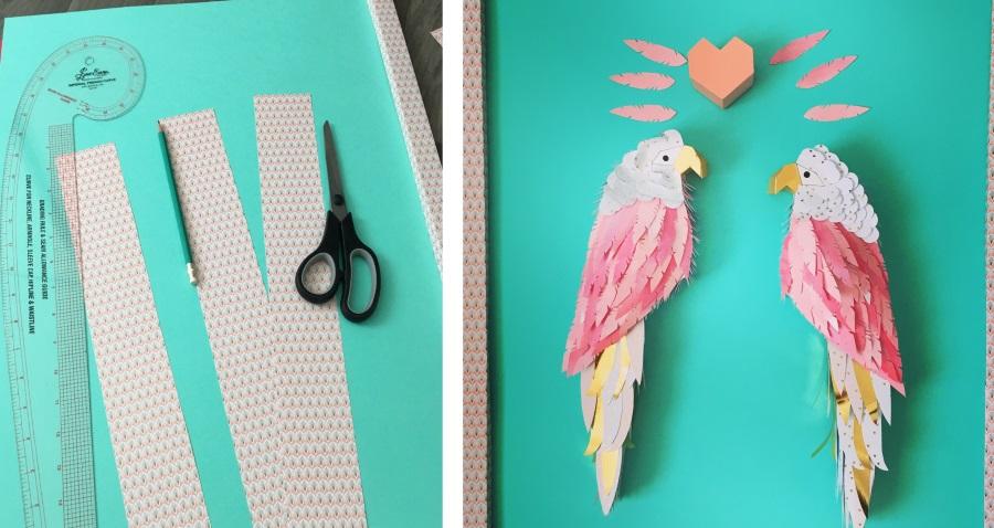 cadre perroquets papercut