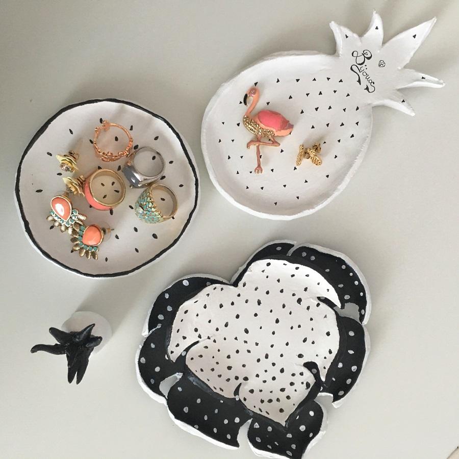 DIY : coupelles à bijoux tropicales et graphiques