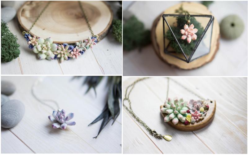 bijoux succulentes pate polymère